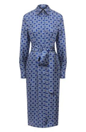 Женское шелковое платье KITON синего цвета, арт. D50348H07723 | Фото 1
