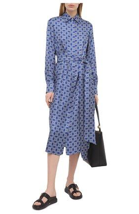 Женское шелковое платье KITON синего цвета, арт. D50348H07723 | Фото 2