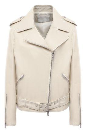 Женская кожаная куртка DROME белого цвета, арт. DPD3105P/D400P | Фото 1