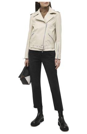Женская кожаная куртка DROME белого цвета, арт. DPD3105P/D400P | Фото 2