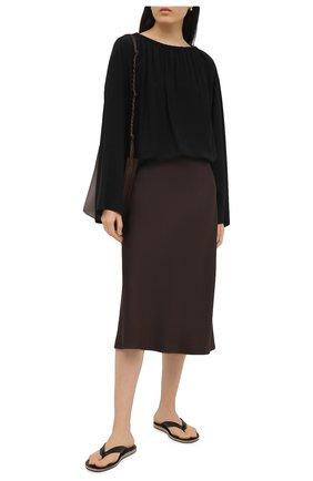Женские кожаные шлепанцы JIL SANDER черного цвета, арт. JP36001A-13002 | Фото 2 (Материал внутренний: Натуральная кожа; Подошва: Плоская)