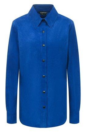 Женская замшевая рубашка TOM FORD синего цвета, арт. CAL553-LEX257 | Фото 1 (Рукава: Длинные; Длина (для топов): Удлиненные; Принт: Без принта; Женское Кросс-КТ: Рубашка-одежда; Стили: Кэжуэл; Материал внешний: Замша)