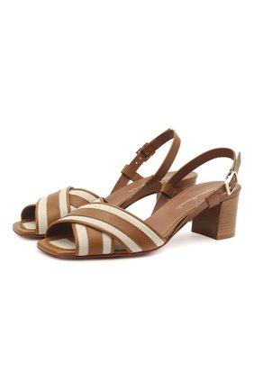 Женские кожаные босоножки SANTONI светло-коричневого цвета, арт. WHIQ59346HA1T0I0C50 | Фото 1