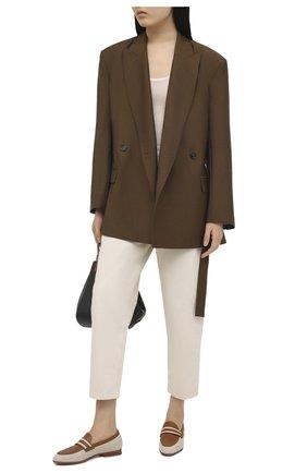 Женские комбинированные лоферы SANTONI светло-коричневого цвета, арт. WUSM59325BA3TLN0C50 | Фото 2