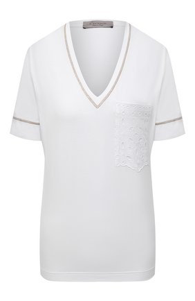 Женская футболка из вискозы D.EXTERIOR белого цвета, арт. 52659   Фото 1