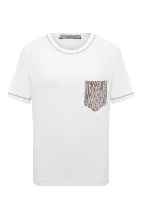 Женская футболка из вискозы D.EXTERIOR бежевого цвета, арт. 52651   Фото 1