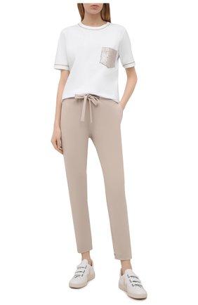 Женская футболка из вискозы D.EXTERIOR бежевого цвета, арт. 52651   Фото 2