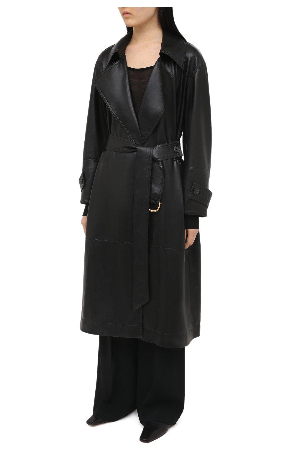 Женский плащ из экокожи NANUSHKA черного цвета, арт. AMAL_BLACK_VEGAN LEATHER   Фото 3