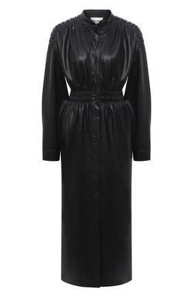 Женское платье из экокожи NANUSHKA черного цвета, арт. JAYCE_BLACK_VEGAN LEATHER RUCHED | Фото 1
