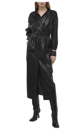 Женское платье из экокожи NANUSHKA черного цвета, арт. JAYCE_BLACK_VEGAN LEATHER RUCHED | Фото 2
