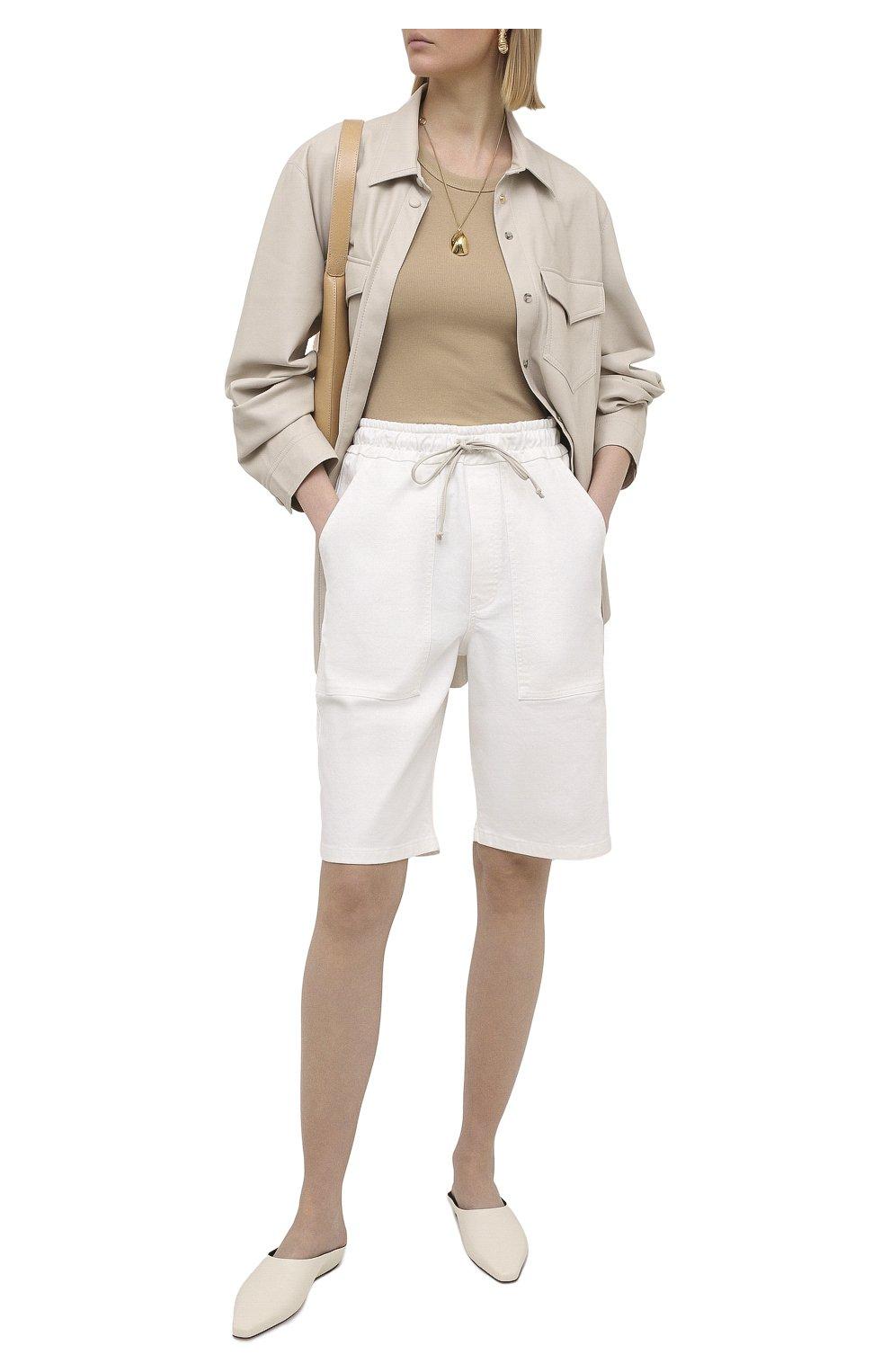 Женские хлопковые шорты NANUSHKA белого цвета, арт. HADI_WHITE_C0MF0RT STRETCH DENIM   Фото 2