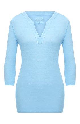 Женская льняной лонгслив 120% LINO голубого цвета, арт. T0W7667/B568/S00   Фото 1