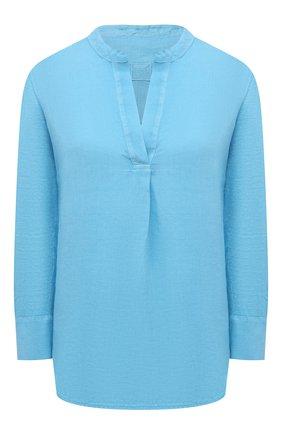 Женская льняная блузка 120% LINO голубого цвета, арт. T0W70FC/E908/S00   Фото 1