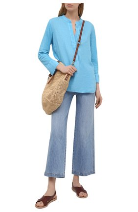 Женская льняная блузка 120% LINO голубого цвета, арт. T0W70FC/E908/S00   Фото 2