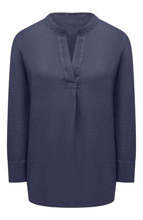Женская льняная блузка 120% LINO темно-синего цвета, арт. T0W70FC/E908/S00   Фото 1