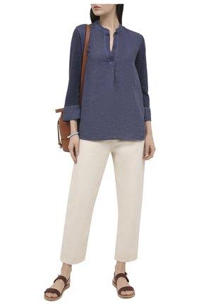 Женская льняная блузка 120% LINO темно-синего цвета, арт. T0W70FC/E908/S00   Фото 2