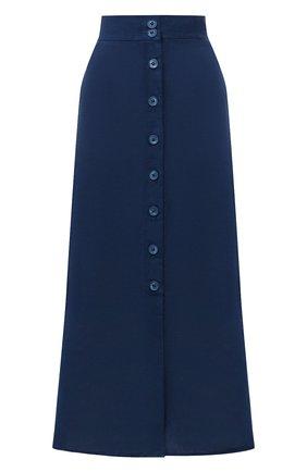Женская льняная юбка 120% LINO синего цвета, арт. T0W595F/0115/000 | Фото 1