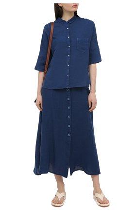 Женская льняная юбка 120% LINO синего цвета, арт. T0W595F/0115/000 | Фото 2