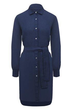 Женское льняное платье 120% LINO синего цвета, арт. T0W49AZ/0115/000 | Фото 1