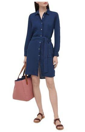 Женское льняное платье 120% LINO синего цвета, арт. T0W49AZ/0115/000 | Фото 2
