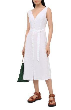 Женское льняное платье 120% LINO белого цвета, арт. T0W495Q/F753/000 | Фото 2