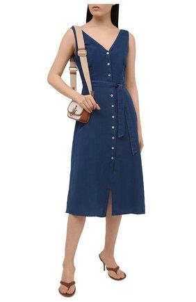 Женское льняное платье 120% LINO синего цвета, арт. T0W495Q/F753/000 | Фото 2