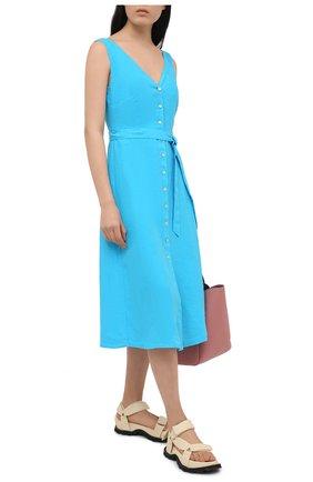 Женское льняное платье 120% LINO голубого цвета, арт. T0W495Q/F753/000 | Фото 2
