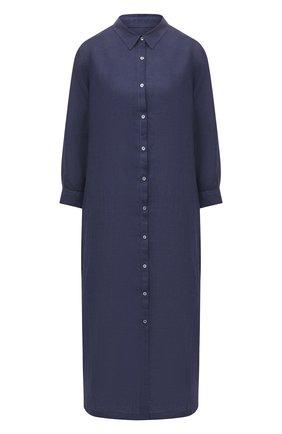 Женское льняное платье 120% LINO синего цвета, арт. T0W4759/B317/S00 | Фото 1