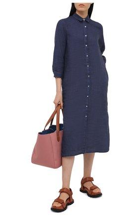 Женское льняное платье 120% LINO синего цвета, арт. T0W4759/B317/S00 | Фото 2