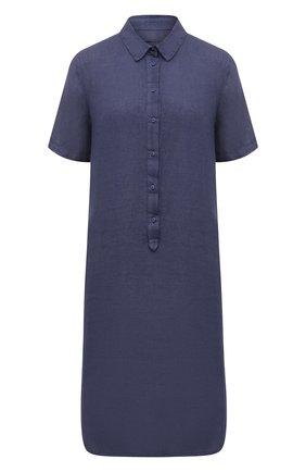 Женское льняное платье 120% LINO темно-синего цвета, арт. T0W4466/0115/S00 | Фото 1