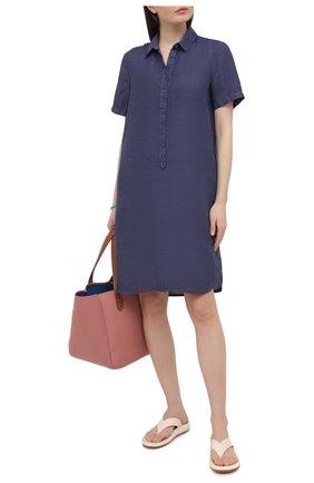 Женское льняное платье 120% LINO темно-синего цвета, арт. T0W4466/0115/S00 | Фото 2