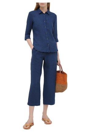 Женские льняные брюки 120% LINO синего цвета, арт. T0W2443/F753/000 | Фото 2