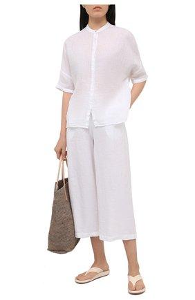 Женские льняные брюки 120% LINO белого цвета, арт. T0W2325/F753/000 | Фото 2