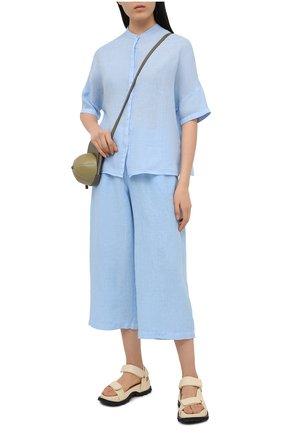 Женские льняные брюки 120% LINO голубого цвета, арт. T0W2325/F753/000 | Фото 2