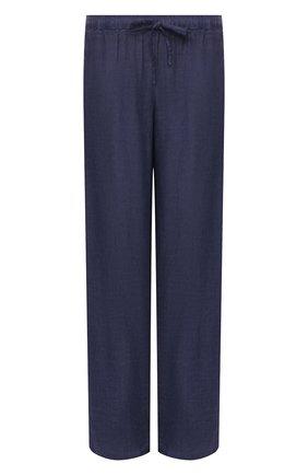 Женские льняные брюки 120% LINO синего цвета, арт. T0W2145/0115/S00   Фото 1