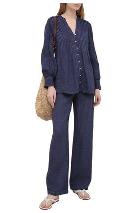 Женские льняные брюки 120% LINO синего цвета, арт. T0W2145/0115/S00   Фото 2