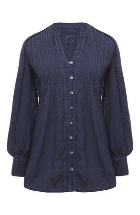 Женская льняная блузка 120% LINO синего цвета, арт. T0W19IJ/B317/S00 | Фото 1