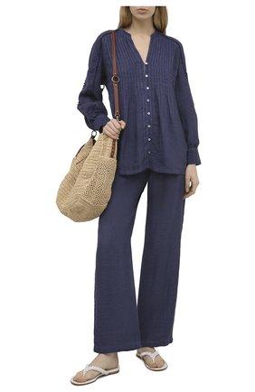 Женская льняная блузка 120% LINO синего цвета, арт. T0W19IJ/B317/S00 | Фото 2