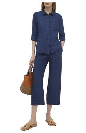 Женская льняная рубашка 120% LINO синего цвета, арт. T0W1780/0115/000 | Фото 2