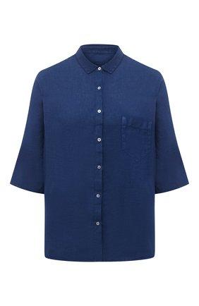 Женская льняная рубашка 120% LINO синего цвета, арт. T0W1286/B317/000 | Фото 1