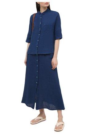 Женская льняная рубашка 120% LINO синего цвета, арт. T0W1286/B317/000 | Фото 2
