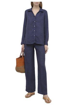 Женская льняная рубашка 120% LINO синего цвета, арт. T0W1172/B317/S00 | Фото 2