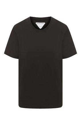 Женская хлопковая футболка BOTTEGA VENETA темно-зеленого цвета, арт. 649060/VF1U0 | Фото 1