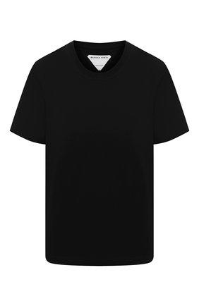 Женская хлопковая футболка BOTTEGA VENETA черного цвета, арт. 649060/VF1U0   Фото 1 (Материал внешний: Хлопок; Длина (для топов): Стандартные; Принт: Без принта; Стили: Кэжуэл; Женское Кросс-КТ: Футболка-одежда; Рукава: Короткие)