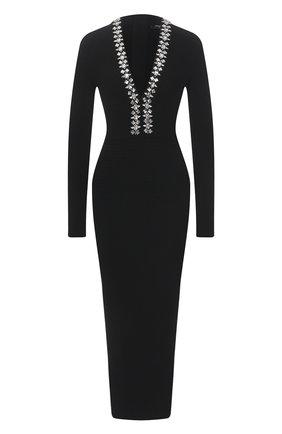 Женское платье из вискозы BALMAIN черного цвета, арт. VF16644/K239 | Фото 1
