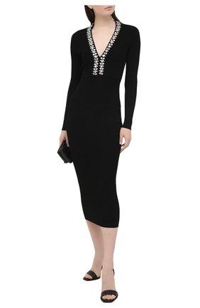 Женское платье из вискозы BALMAIN черного цвета, арт. VF16644/K239 | Фото 2