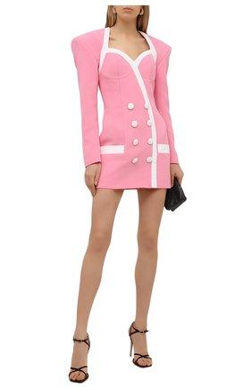 Женское платье из вискозы BALMAIN розового цвета, арт. VF16212/V089 | Фото 2