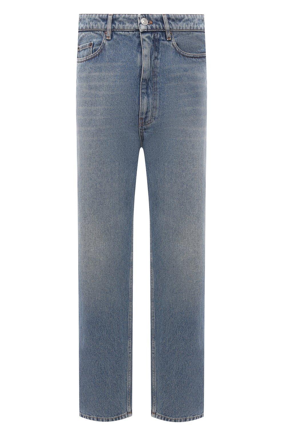 Мужские джинсы BALENCIAGA голубого цвета, арт. 641455/TDW15   Фото 1 (Силуэт М (брюки): Широкие; Кросс-КТ: Деним; Длина (брюки, джинсы): Стандартные; Стили: Гранж; Материал внешний: Хлопок; Детали: Потертости)
