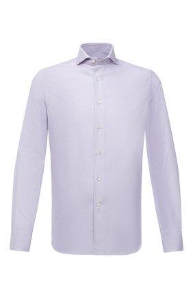 Мужская хлопковая сорочка CANALI сиреневого цвета, арт. XC8/GD00998 | Фото 1 (Материал внешний: Хлопок; Длина (для топов): Стандартные; Рукава: Длинные; Случай: Формальный; Принт: Клетка; Рубашки М: Regular Fit; Манжеты: На пуговицах; Воротник: Акула; Стили: Классический)