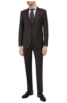 Мужская хлопковая сорочка CANALI сиреневого цвета, арт. XC8/GD00998 | Фото 2 (Материал внешний: Хлопок; Длина (для топов): Стандартные; Рукава: Длинные; Случай: Формальный; Принт: Клетка; Рубашки М: Regular Fit; Манжеты: На пуговицах; Воротник: Акула; Стили: Классический)